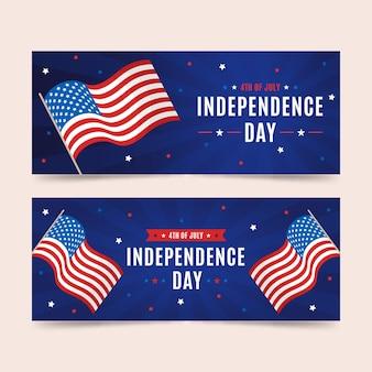 Platte ontwerp 4 juli banners