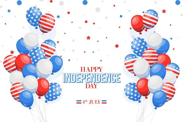 Platte ontwerp 4 juli nationale vlag op ballonnen achtergrond