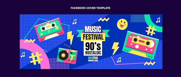 Platte ontwerp 90s muziekfestival facebook cover