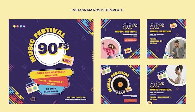 Platte ontwerp 90s muziekfestival instagram-berichten