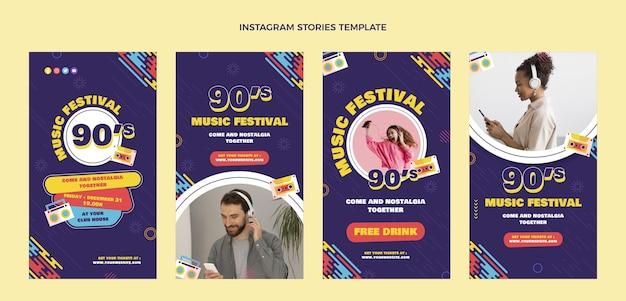 Platte ontwerp 90s muziekfestival instagramverhalen