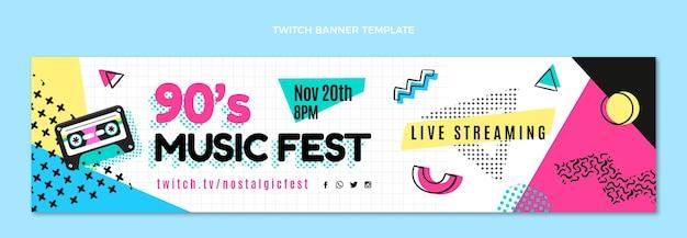 Platte ontwerp 90s muziekfestival twitch banner