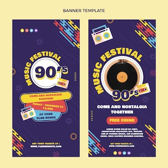 Platte ontwerp 90s muziekfestival verticale banners