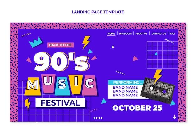 Platte ontwerp 90s nostalgische muziekfestival bestemmingspagina