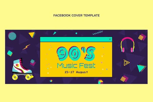 Platte ontwerp 90s nostalgische muziekfestival facebook cover