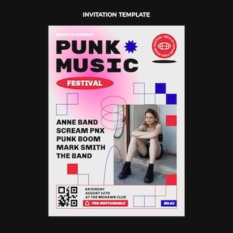 Platte ontwerp 90s nostalgische muziekfestivaluitnodiging
