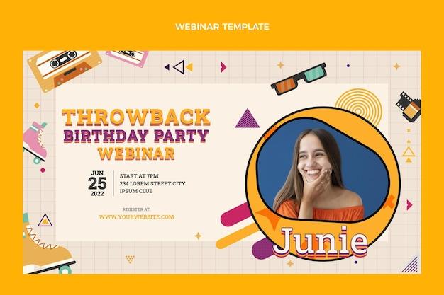 Platte ontwerp 90s nostalgische verjaardag webinar