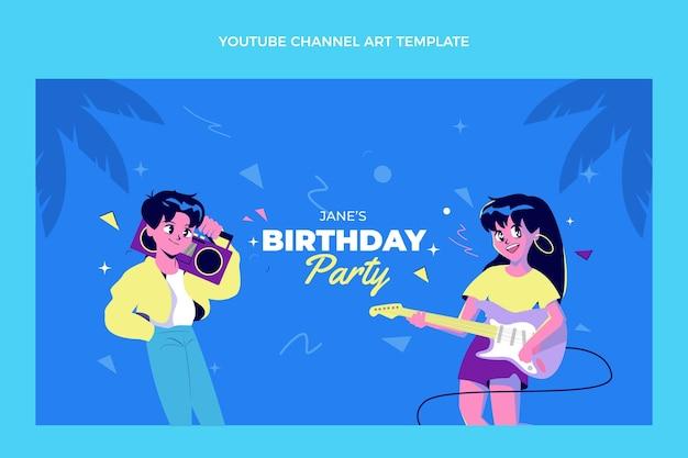 Platte ontwerp 90s nostalgische verjaardag youtube channel art