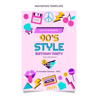 Platte ontwerp 90s nostalgische verjaardagsuitnodiging