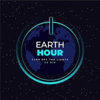 Platte ontwerp aarde uur op knop