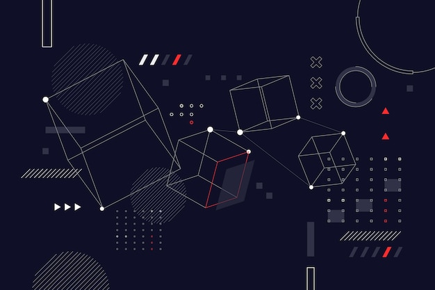 Platte ontwerp abstracte draadframe achtergrond