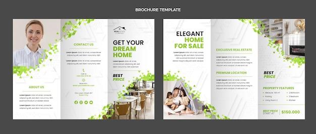 Platte ontwerp abstracte geometrische onroerend goed brochure
