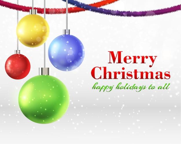 Platte ontwerp abstracte kerstkaart met vier kleurrijke versierde kerstballen vectorillustratie