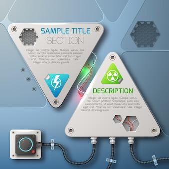 Platte ontwerp abstracte technologie met twee driehoekige stalen elementen illustratie