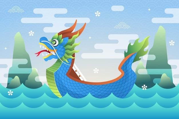 Platte ontwerp achtergrond drakenboot