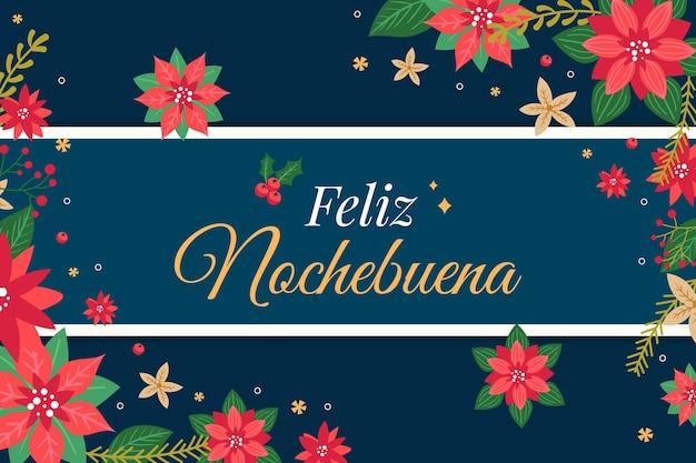 Platte ontwerp achtergrond feliz nochebuena