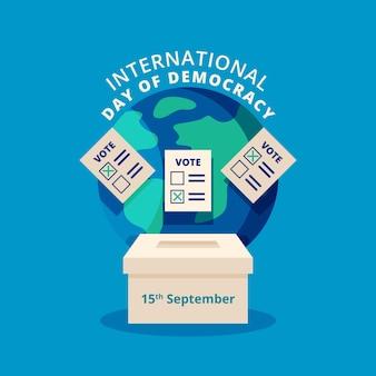 Platte ontwerp achtergrond internationale dag van de democratie