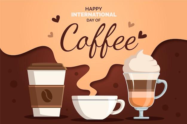 Platte ontwerp achtergrond internationale dag van koffie