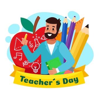 Platte ontwerp achtergrond lerarendag met man en potloden