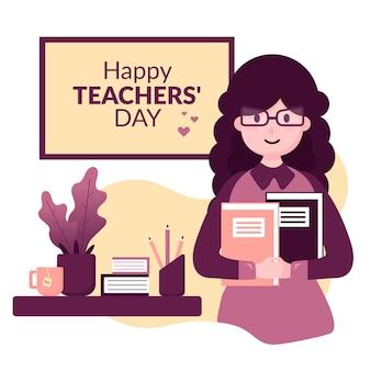 Platte ontwerp achtergrond lerarendag met vrouw en notenooks