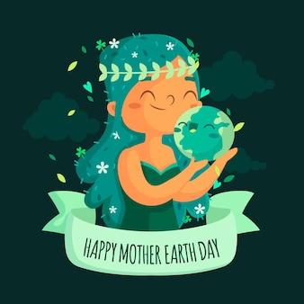 Platte ontwerp achtergrond moeder aarde dag