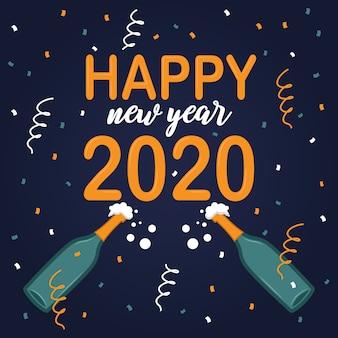 Platte ontwerp achtergrond nieuwjaar 2020