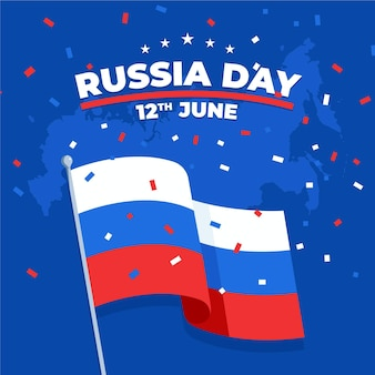 Platte ontwerp achtergrond rusland dag