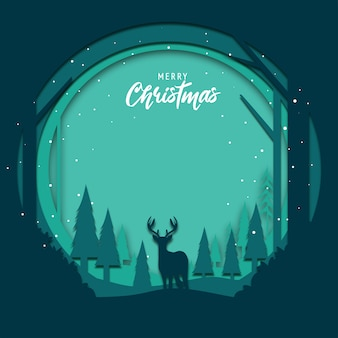 Platte ontwerp achtergrond voor kerstmis met papercut kunst