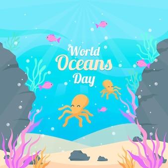 Platte ontwerp achtergrond wereld oceanen dag