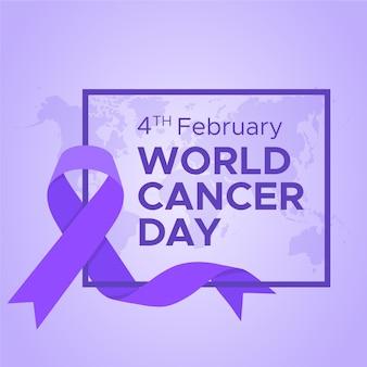Platte ontwerp achtergrond werelddag voor kanker