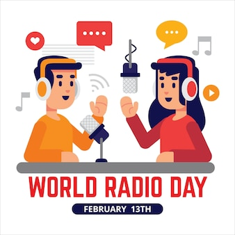 Platte ontwerp achtergrond wereldradiodag met presentatoren