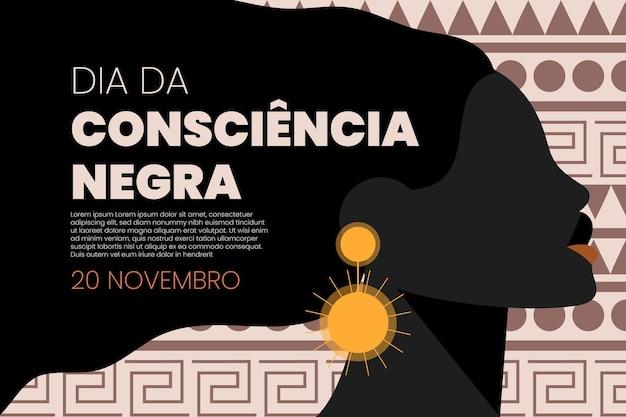 Platte ontwerp achtergrond zwarte bewustzijnsdag