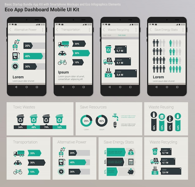 Platte ontwerp admin dashboard eco new energy infographics ui mobiele app