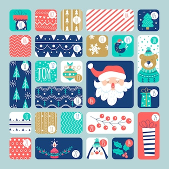 Platte ontwerp adventskalender met illustraties