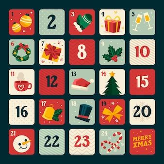 Platte ontwerp adventskalender met kerst elementen
