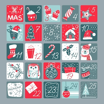Platte ontwerp adventskalender sjabloon met illustraties