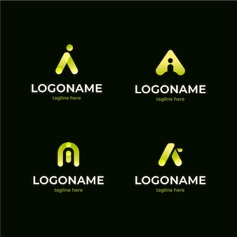 Platte ontwerp ai logo collectie