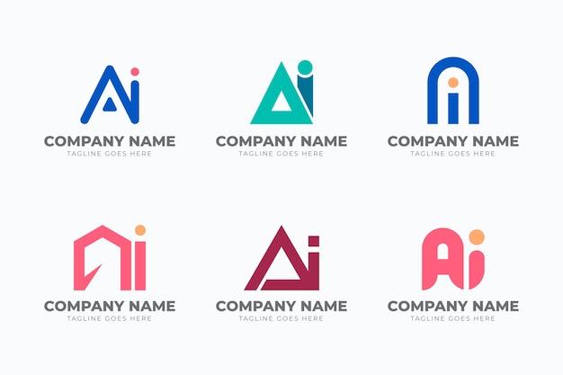 Platte ontwerp ai logo sjabloon set