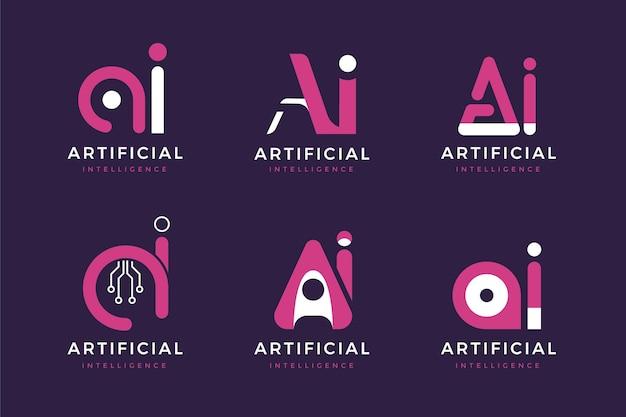 Platte ontwerp ai logo sjabloonpakket