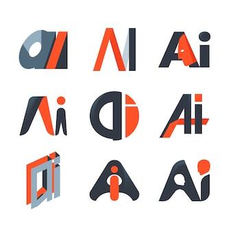 Platte ontwerp ai logo sjabloonverzameling