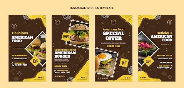 Platte ontwerp amerikaans eten instagramverhalen