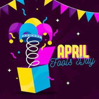 Platte ontwerp april dwazen dag concept