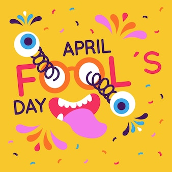 Platte ontwerp april dwazen dag evenement