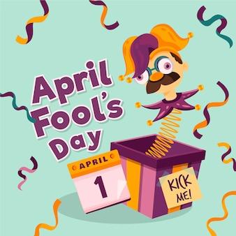 Platte ontwerp april dwazen dag harlekijn in een doos