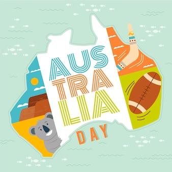 Platte ontwerp australië dag illustratie met land