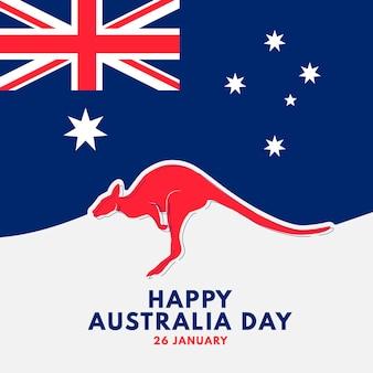 Platte ontwerp australië dag kangoeroe