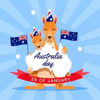 Platte ontwerp australië dag met australische kaart