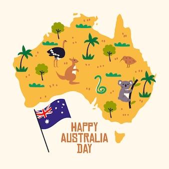 Platte ontwerp australië dag met kaart