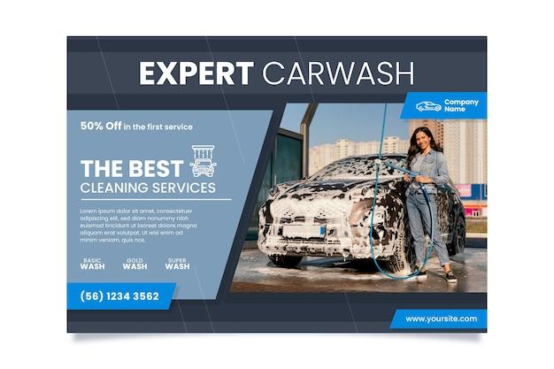 Platte ontwerp auto a4 poster met foto horizontaal