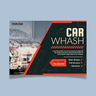 Platte ontwerp auto poster sjabloon met foto horizontaal